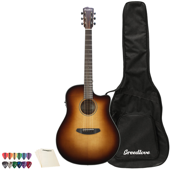 Breedlove Discovery Dreadnought CE Sitka-Mahogany Acoustic-Electric Guitar with ChromaCast 12 Pick Sampler and Polish Cloth, Sunburst
