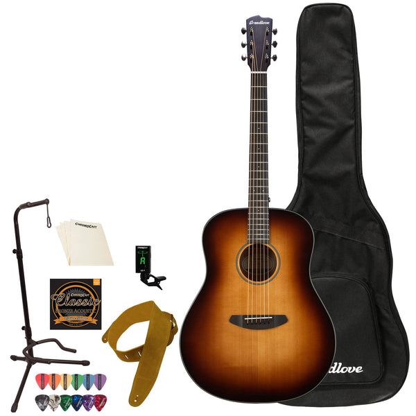 Breedlove Discovery   Dreadnought Sitka-Mahogany Acoustic Guitar with ChromaCast Accessories,   Sunburst