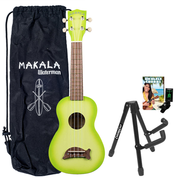 Kala MK-SD/GRNBURST Green Apple Burst Dolphin Series Ukulele with Stand, Clip-On Tuner, Bag & Lesson-Chord Guide