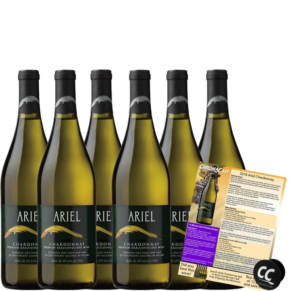 Ariel Chardonnay Non-Alcoholic White Wine Experience Bundle with Chromacast Pop Socket, Seasonal Wine Pairings & Recipes, 6 Pack