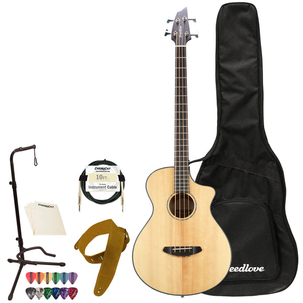 Breedlove Pursuit Concert Bass CE Sitka-Mahogany Acoustic-Electric Bass Guitar with ChromaCast Accessories