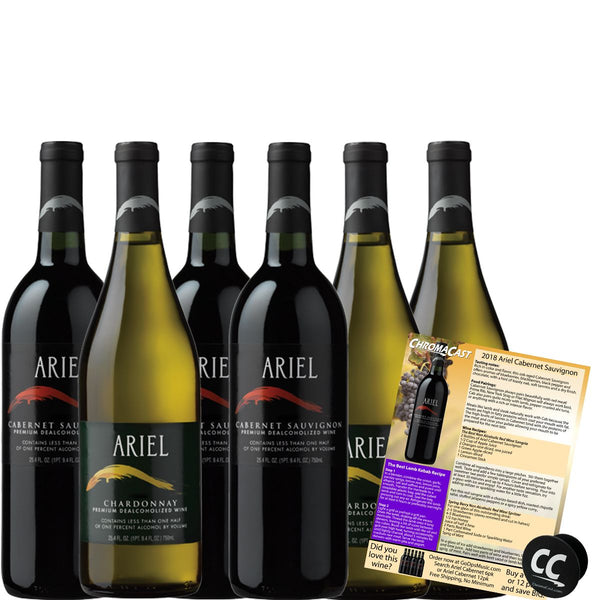 Ariel Cabernet & Chardonnay Non-Alcoholic Red & White Wine Experience Bundle with Chromacast Pop Socket, Seasonal Wine Pairings & Recipes, 6 Pack