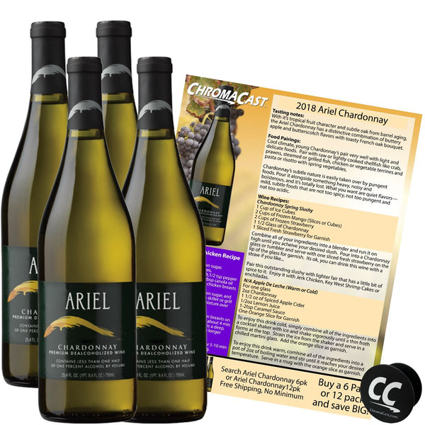 Ariel Chardonnay Non-Alcoholic White Wine Experience Bundle with Chromacast Pop Socket, Seasonal Wine Pairings & Recipes, 4 Pack