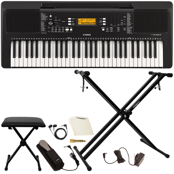 Yamaha PSRE363 61-Key Portable Keyboard with Accessories