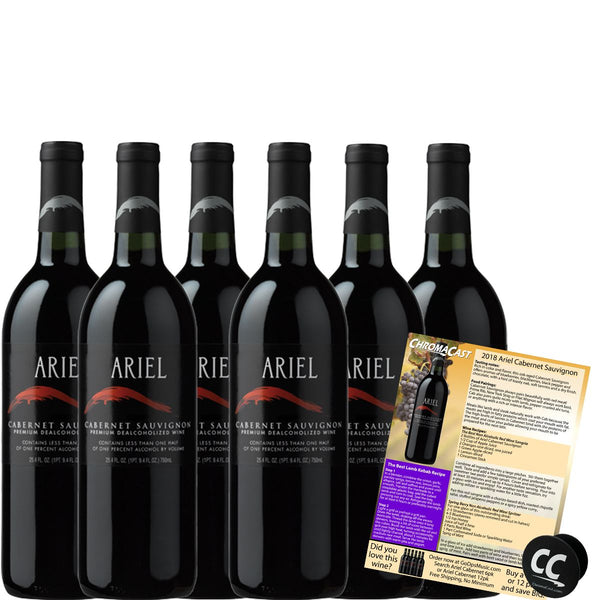 Ariel Cabernet Non-Alcoholic Red Wine Experience Bundle with Chromacast Pop Socket, Seasonal Wine Pairings & Recipes, 6 Pack