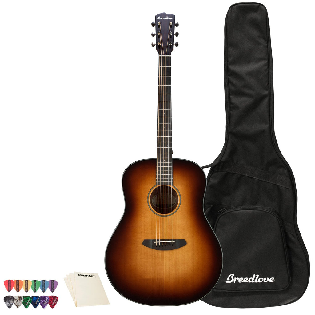 Breedlove Discovery   Dreadnought Sitka-Mahogany Acoustic Guitar with ChromaCast 12 Pick Sampler and Polish Cloth, Sunburst