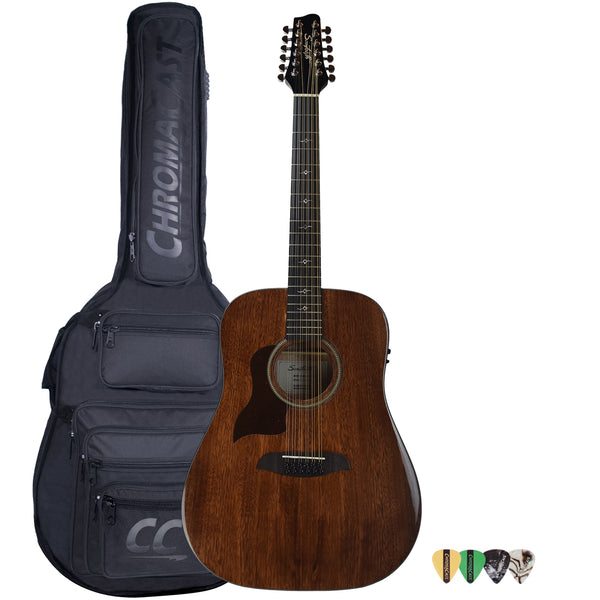 Sawtooth Mahogany Series Left-Handed 12-String Solid Mahogany Top Acoustic-Electric Dreadnought Guitar with Padded Gig Bag and Pick Sampler