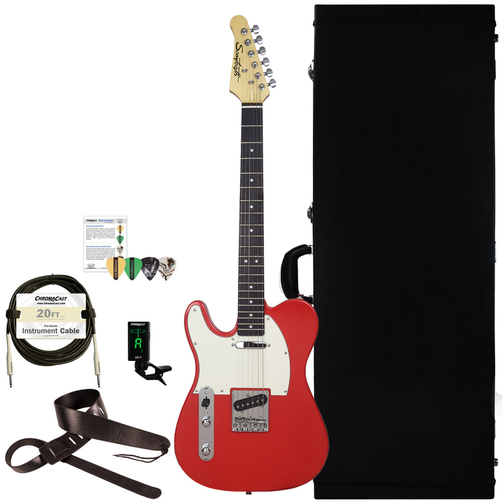 Sawtooth Left-Handed Classic ET 60 Ash Body Electric Guitar with Hard Case and Accessories, Habanero