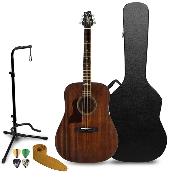 Sawtooth Mahogany Series Left-Handed Solid Mahogany Top Acoustic-Electric Dreadnought Guitar with Hard Case and Accessories