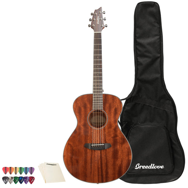 Breedlove Discovery Concert Mahogany-Mahogany Acoustic Guitar with ChromaCast 12 Pick Sampler & Polish Cloth