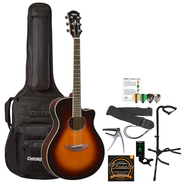 Yamaha APX600 Thin Body Acoustic-Electric Guitar with Gig Bag and Accessories, Old Violin   Sunburst