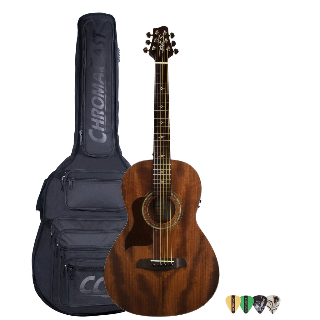 Sawtooth Mahogany Series Left-Handed Solid Mahogany Top Acoustic-Electric Parlor Guitar with Padded Gig Bag and Pick Sampler