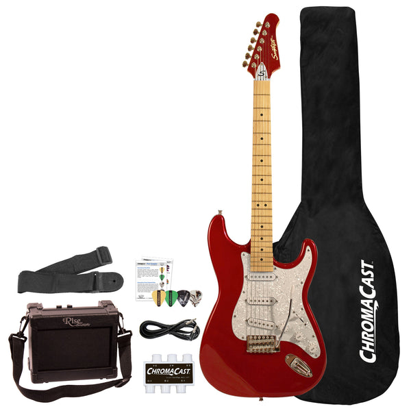 Sawtooth ES Series Beginner's Electric Guitar with Guitar Bag, Amp, and Accessories, Candy Apple Red with Pearloid White Pickguard