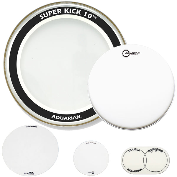 "Aquarian 18"" Heavy Hitter Kick & Snare Bundle - Includes: 18"" Super Kick 10, Triple Threat Snare Drum Head, KickPATCH, Double Kick Pad, & DuraDOT"