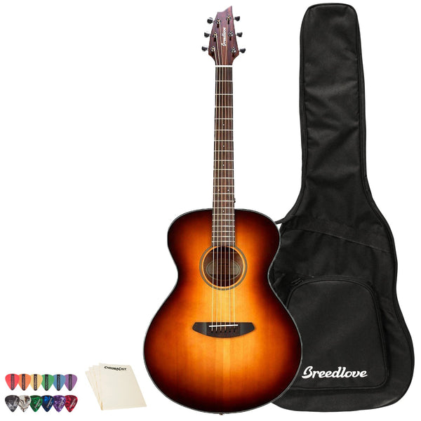 Breedlove Discovery Concert Sunburst Sitka-Mahogany Acoustic Guitar with ChromaCast 12 Pick Sampler & Polish Cloth