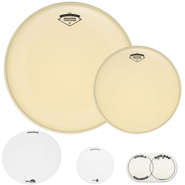 "Aquarian 20"" Old School Kick & Snare Bundle - 20"" ModernVintage Bass Drum Head, ModernVintage2 Coated Snare Head, KickPATCH, Double Kick Pad, &DuraDOT"