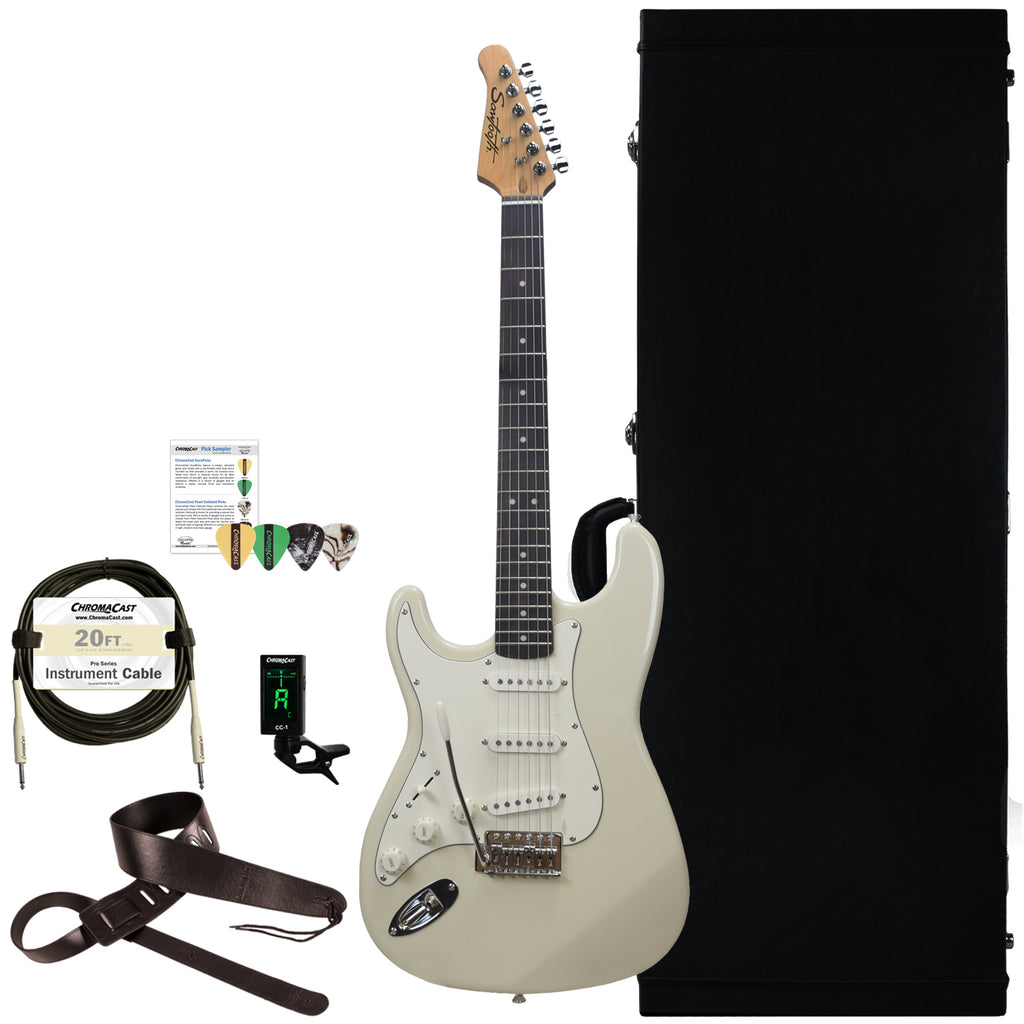 Sawtooth Classic ES 60 Alder Body Left-Handed Electric Guitar with Hard Case and Accessories, Ash White