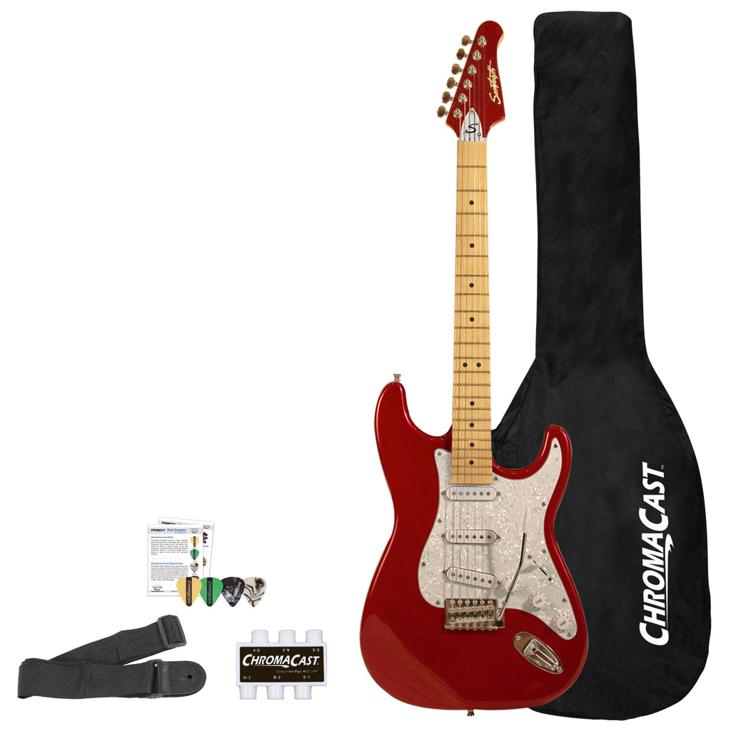 Sawtooth ES Series ST Style Electric Guitar Beginner's Guitar with Accessories, Candy Apple Red with Pearl Pickguard
