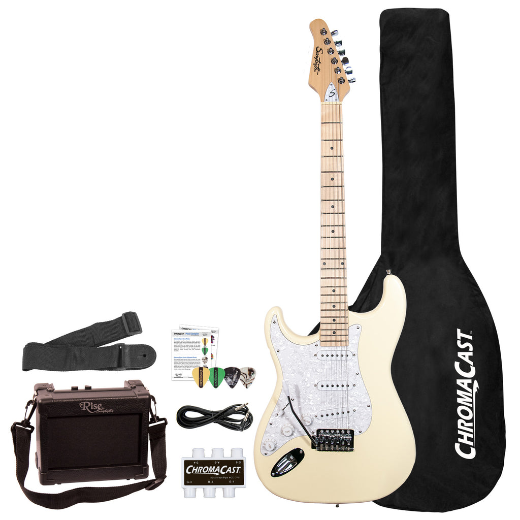 Sawtooth ES Series Beginner's Left-Handed Electric Guitar with Guitar Bag, Amp, and Accessories, Vanilla Cream with Pearloid White Pickguard