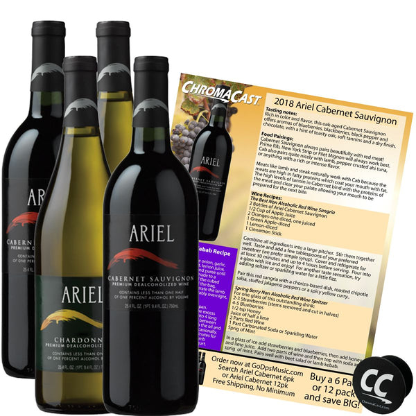 Ariel Cabernet & Chardonnay Non-Alcoholic Red & White Wine Experience Bundle with Chromacast Pop Socket, Seasonal Wine Pairings & Recipes, 4 Pack
