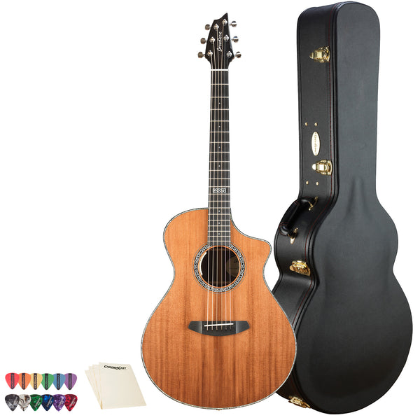 Breedlove Legacy Concert CE Redwood-Rosewood Acoustic-Electric Guitar with ChromaCast 12 Pick Sampler & Polish Cloth