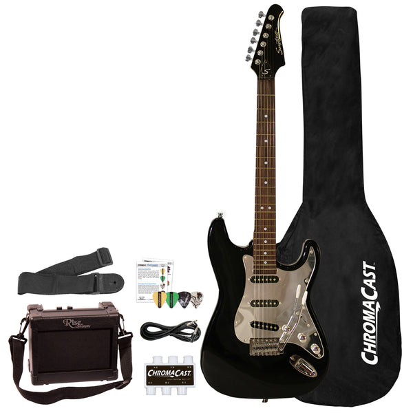 Sawtooth ES Series Beginner's Electric Guitar with Guitar Bag, Amp, and Accessories, Black with Chrome Pickguard