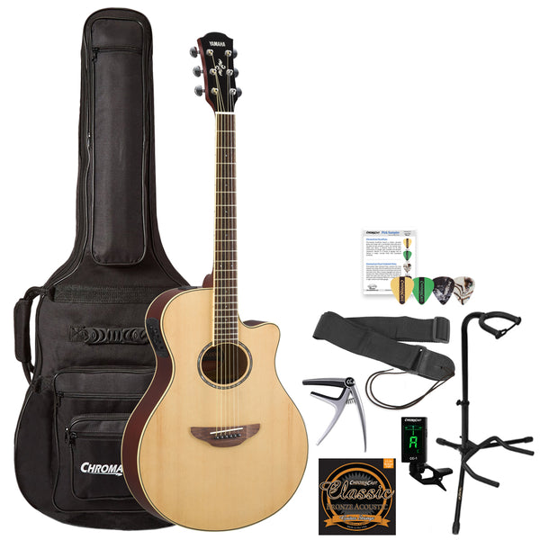 Yamaha APX600 Thin Body Acoustic-Electric Guitar with Gig Bag & Accessories, Natural