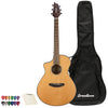 Breedlove Pursuit   Concert Left-Handed CE Red Cedar-Mahogany Acoustic-Electric Guitar with   ChromaCast 12 Pick Sampler & Polish Cloth