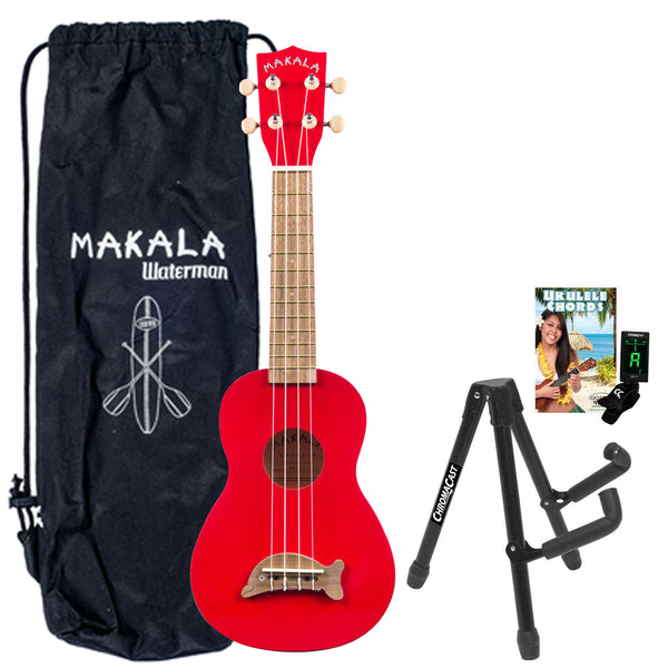 Kala MK-SD/CAR Makala Ukulele in Candy Apple Red Ukulele with Stand, Clip-On Tuner, Bag & Lesson-Chord Guide