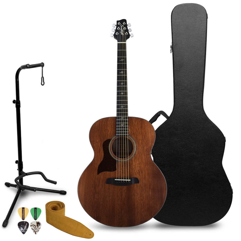 Sawtooth Mahogany Series Left-Handed Solid Mahogany Top Acoustic-Electric Jumbo Guitar with Hard Case and Accessories