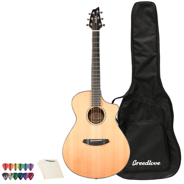 Breedlove Solo Concert CE Red Cedar - Ovangkol Acoustic-Electric Guitar with ChromaCast 12 Pick Sampler & Polish Cloth