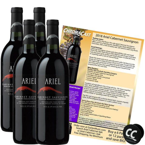 Ariel Cabernet Non-Alcoholic Red Wine Experience Bundle with Chromacast Pop Socket, Seasonal Wine Pairings & Recipes, 4 Pack