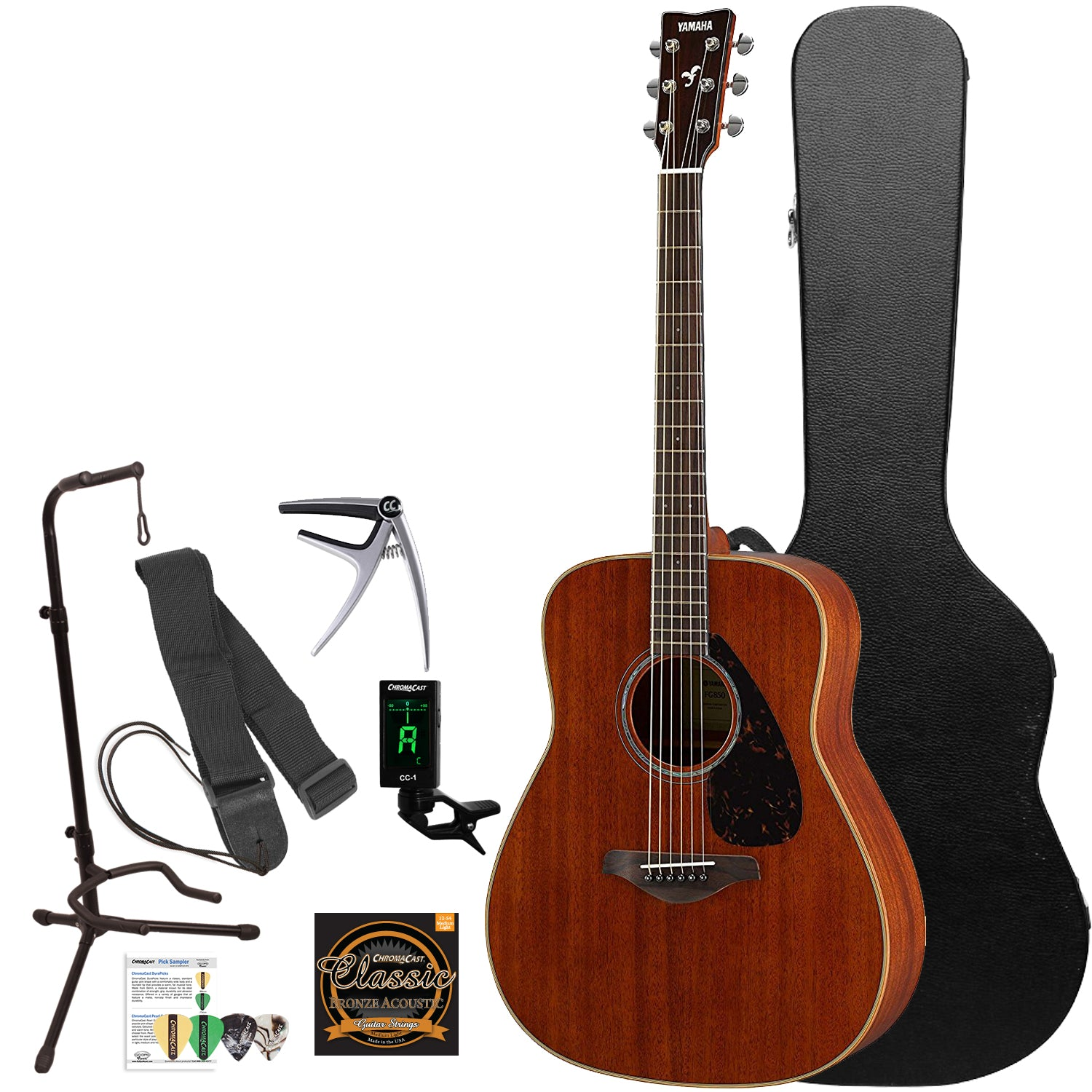 yamaha fg850 solid mahogany top acoustic guitar with accessories godpsmusic. Black Bedroom Furniture Sets. Home Design Ideas