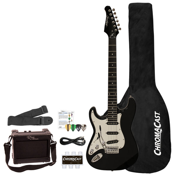 Sawtooth ES Series Beginner's Left-Handed Electric Guitar with Guitar Bag, Amp, and Accessories, Black with Chrome Pickguard