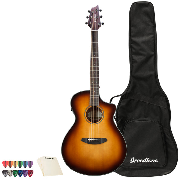Breedlove Discovery Concert CE Sitka-Mahogany Acoustic-Electric Guitar with ChromaCast 12 Pick Sampler and Polish Cloth, Sunburst
