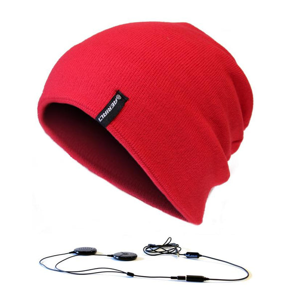 AERIAL7 Sound Disk Beanie Perisher Red w/ Built-in headphones and microphone