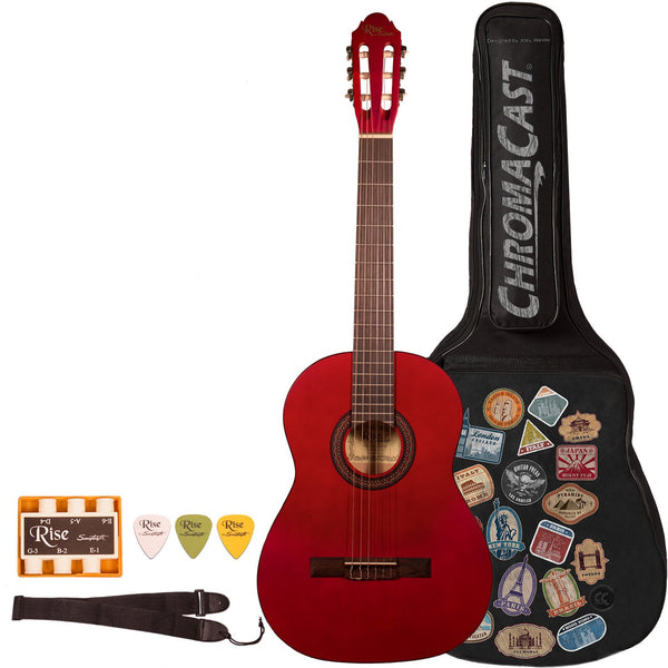 Rise by Sawtooth Full Size Beginner's Classical Guitar with World Tour Graphic Gig Bag & Accessories, Satin Red Stain