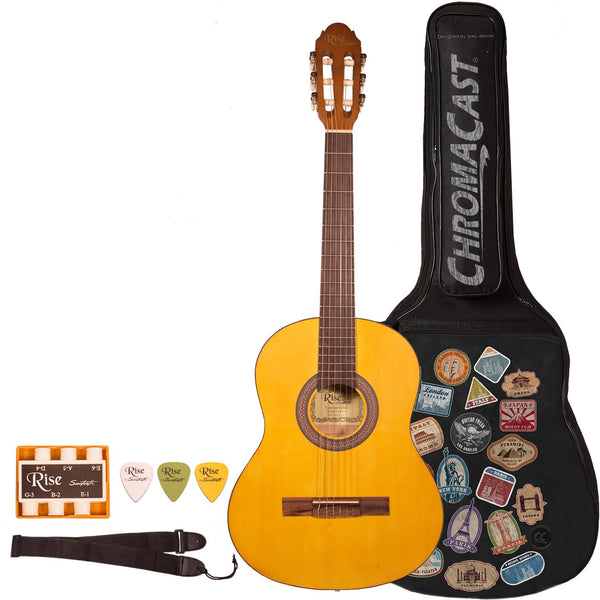 Rise by Sawtooth 3/4 Size Beginner's Classical Guitar with World Tour Graphic Gig Bag & Accessories, Satin Gold Stain