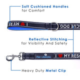 Heavy Duty Dog Leash - 2 Handles - Rescue Dog Edition