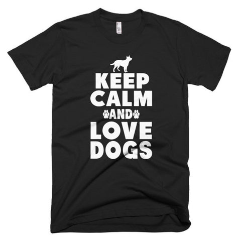 Keep Calm And Love Dogs - Short Sleeve Men's T-Shirt -  - 2