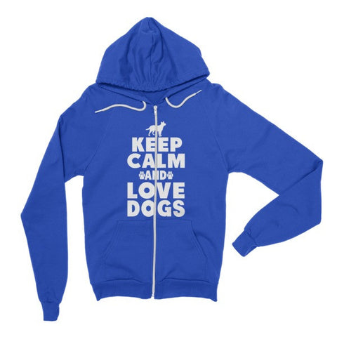 Keep Calm And Love Dogs - Hoodie Zipper Sweater -  - 1