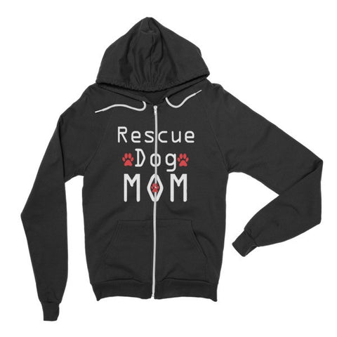 Rescue Dog Mom - Hoodie Zipper Sweater -  - 3