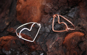 Open Heart Rings (available in silver, bronze and gold)