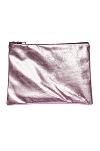 Medium Metallic Leather Pouch