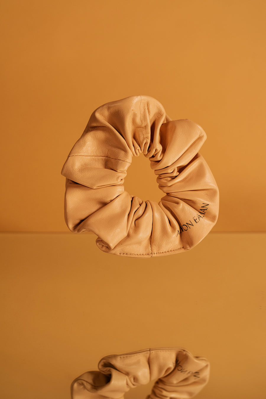 Leather Scrunchie in Tan