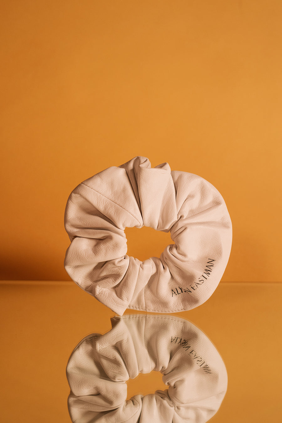Leather Scrunchie in White