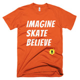 Imagine Skate Believe T-Shirt is available here at BonusSkate you can also find subscription products, skateboarding products and video bogs, mens apparel, and latest innovative products.