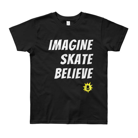 Youth Imagine Skate Believe T-Shirt is available here at BonusSkate you can also find subscription products, skateboarding products and video bogs, mens apparel, and latest innovative products.