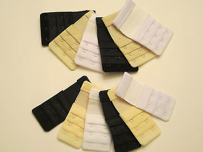 6 Bras Extension 3 Hooks Extenders 2 Black 2 White 2 Beige Multi-colors One Size