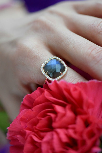 Labradorite & Diamond Ring: 20% Benefitting Your Choice of Charity